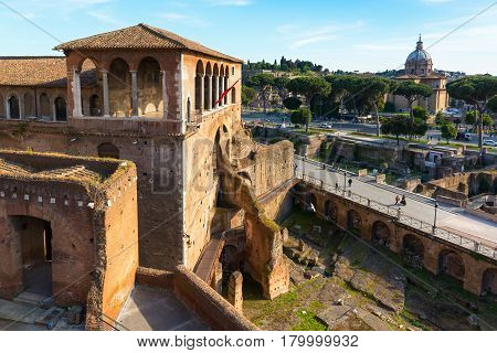 ROME, ITALY - MAY 8, 2014: Market and Forum of Trajan.