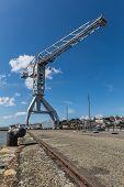Gigantic gray crane titan national heritage site in Nantes (France) poster