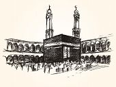 kaaba holy symbolic building in islam vector sketch drawing pilgrimage hajj vector poster