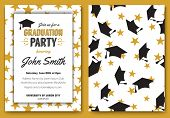 Graduation party vector template invitation to the traditional ceremony, college, university or high school student party, graduation caps thrown in the air with elegant star design poster