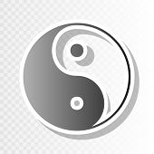 Ying yang symbol of harmony and balance. Vector. New year blackish icon on transparent background with transition. poster