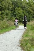 Mother and daughter on a trail ride with pony and horse. poster