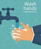 Wash hands. Man holding soap in hand under water tap. Arm in foam soap bubbles. Vector illustration flat design isolated on background. Personal hygiene. Disinfection, skin care. Antibacterial washing poster