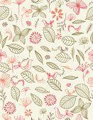 Vector Retro Botanical Garden (seamless pattern) poster