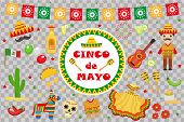 Cinco de Mayo celebration in Mexico, icons set, design element, flat style.Collection objects for Cinco de Mayo parade with pinata, food, sambrero, tequila, cactus. Vector illustration, clipart. poster