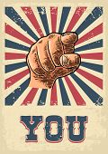 Motivational poster with hand pointing at you or the viewer listen text. Finger at viewer from front. Vector color vintage engraved illustration. I want you. poster