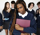 Depressed outsider student torturing from racist school bullying poster
