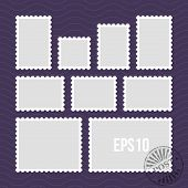 Postage stamps with perforated edge and mail stamp vector template. Set of postal stamp frame, illustration of stamp for mail poster