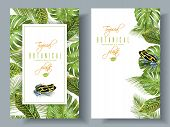 Vector tropical vertical banners with monstera, croton leaves and little frog. Exotic design for cosmetics, spa, perfume, health care products. Can be used as wedding or summer background poster