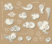 Cute doodle with clouds, angel-wings and bird. poster