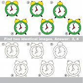 The educational kid matching game for preschool kids with easy gaming level, he task is to find similar objects, to compare items and find two same Clocks. poster
