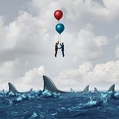 Business meeting risk as two businessmen overcome the dangerous sharks in the water by using balloons to rise above the obstacle as a corporate metaphor for finding partnership solutions with 3D illustration elements. poster
