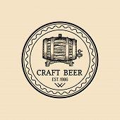 Kraft beer barrel logo. Old brewery icon. Hand sketched keg illustration. Vector vintage lager, ale label or badge poster