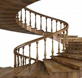 spiral wooden staircase with natural pattern. 3d image. poster