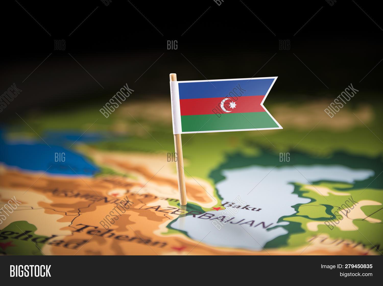 Azerbaijan Marked Flag Image Photo Free Trial Bigstock