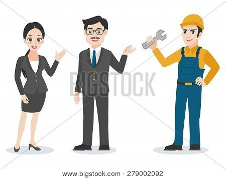 Businessman, Set Of Business Characters Adult Smart Guys Man Woman And Repairman Flat Design On Whit