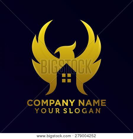 Eagle And House For Realestate Logo Emblem Template Vector. This Logo Is Suitable For Realestate Com