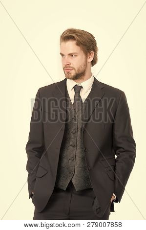 Businessman Or Ceo In Black Jacket. Manager With Beard On Serious Face. Fashion And Beauty. Business