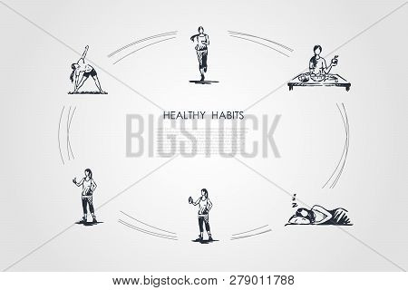 Healthy Habits - Running, Eating Healthy Food, Good Sleeping, Doing Fitness And Exercises Vector Con
