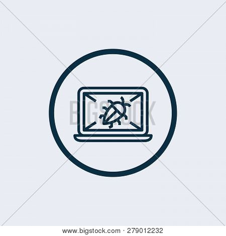Set Of Cyber Virus Digital Protection Hacker Attack Icon - Vector