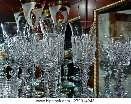 Crystal Glasses For Champagne And Wine. Table Setting. Closeup