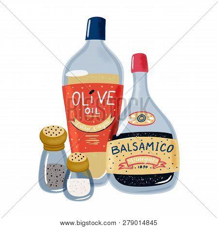 Set Of Salad Dressings - Bottles Of Olive Oil And Balsamic Vinegar, Salt And Papper Shakers, Texture