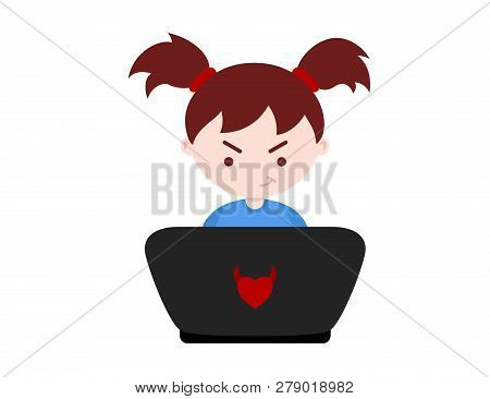 Young Girl Learns Web Programming On The Blue Background. Vector Illustration.