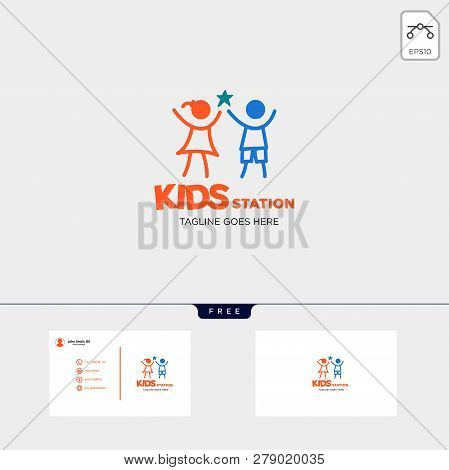 Children Playing Group Education Logo Template Vector Illustration