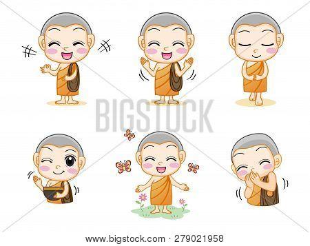 Set Of Little Cute Monk
