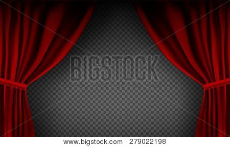 Realistic Colorful Red Velvet Curtain Folded On A Transparent Background. Option Curtain At Home In
