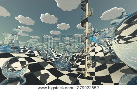 Chessboard Fantasy Landscape with circular staircase winding into sky. 3D rendering
