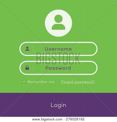 Simple Login Page Form Modern Flat Style For App Development, Online Registration, Smartphone Mockup