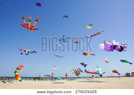 Cervia, Italy - May 1: Sky Full Of Kites For International Kite Festival On May 1, 2017 In Cervia, I