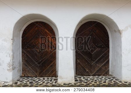 Doors Of A Traditional Granary In Klastor Pod Znievom Village, Northern Slovakia.