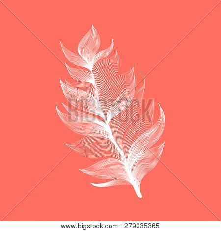 Isolated falling Living Coral color fluffy feather in realistic style. Lightweight Furry Fuzz Icon Design. Vector Graphic Bird Wing Element poster