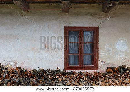 Window Of A Traditional House In Klastor Pod Znievom Village, Northern Slovakia.