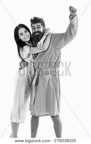 Couple In Love Hugging In Pajama, Bathrobe. Perfect Morning Concept. Couple Cuddling, Isolated On Wh