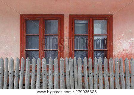 Windows Of A Traditional House In Klastor Pod Znievom Village, Northern Slovakia.