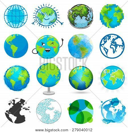Earth Planet Vector Global World Universe And Worldwide Earthly Universal Globe Emoticon Illustratio