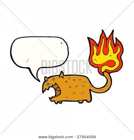 cat with burning tail cartoon