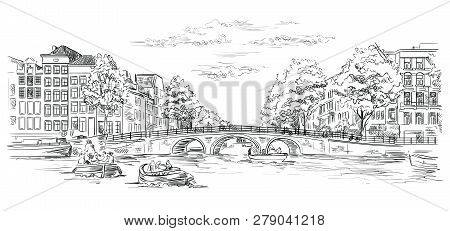 Bridge Over The Canals Of Amsterdam, Netherlands. Landmark Of Netherlands. Vector Hand Drawing Illus