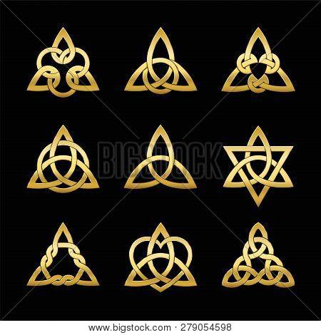 Celtic Triangle Knots. Nine Golden Symbols Used For Decoration Or Golden Pendants. Varieties Of Endl