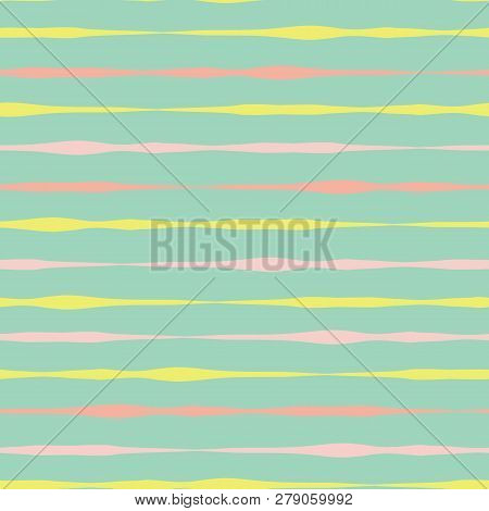 Horizontal Hand Drawn Lines Seamless Vector Background. Pink Coral Yellow Lines On Green. Abstract P
