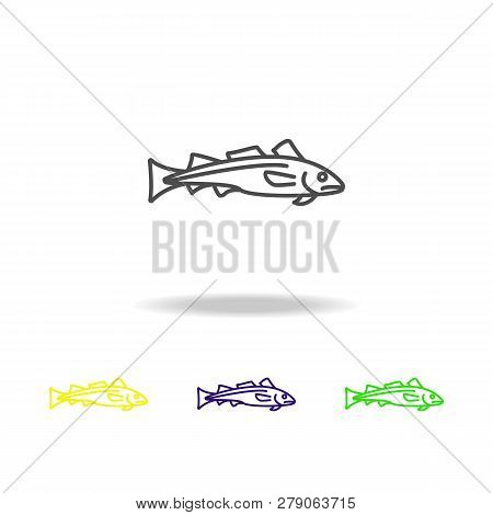 Seafood, Dorado Colored Icons. Element Of Asian Cuisine Illustration. One Of The Collection Icons Fo