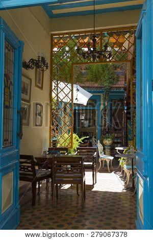 25.05.2016. Pano Lefkara, Cyprus. Old Cafe Tasties Inside Interior.  Tourist Attraction. Mountain Wo