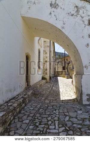 Wall Of Church Of The Holy Cross ( Timios Stavros ) Outside, Exterior Details. Mountain Village Pano
