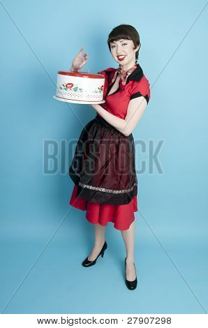 Pinup Housewife With Cake Pan