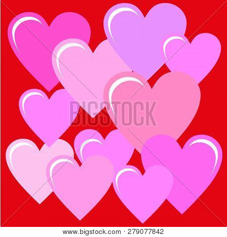Shiny Red Heart Background. Vector Holiday Valentine. Eautiful Background Of Many Contrasting Hearts