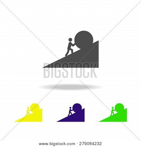 A Man Pushes A Stone Colored Icons. Element Of Overcome Challenge Illustration. Signs And Symbols Co