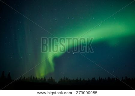 Northern Light On Alaska Sky Dancing Trough The Night, Aurora Borealis